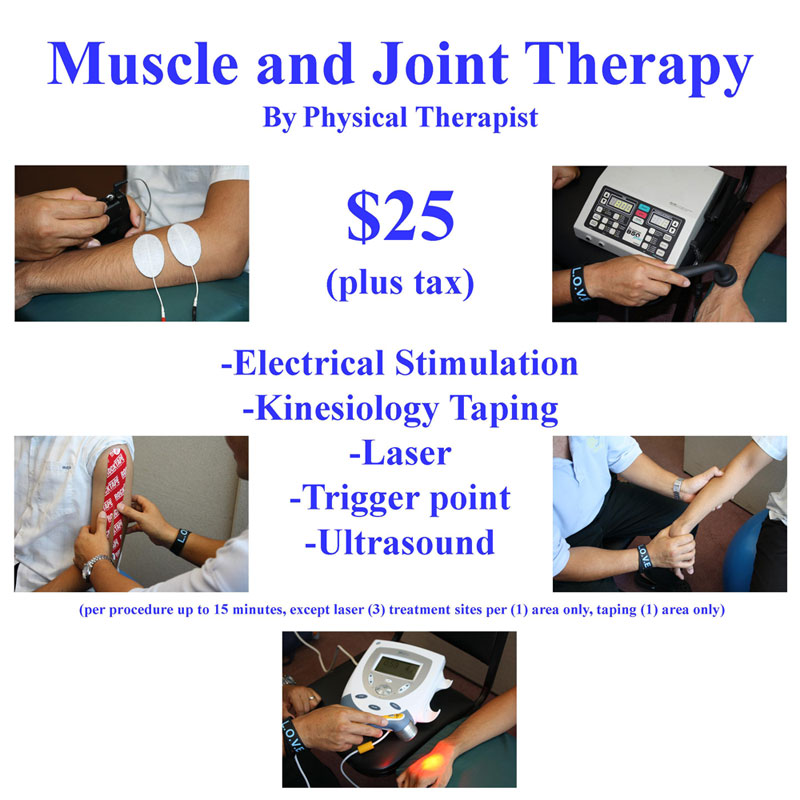 Muscle and Joint Therapy Rates flier